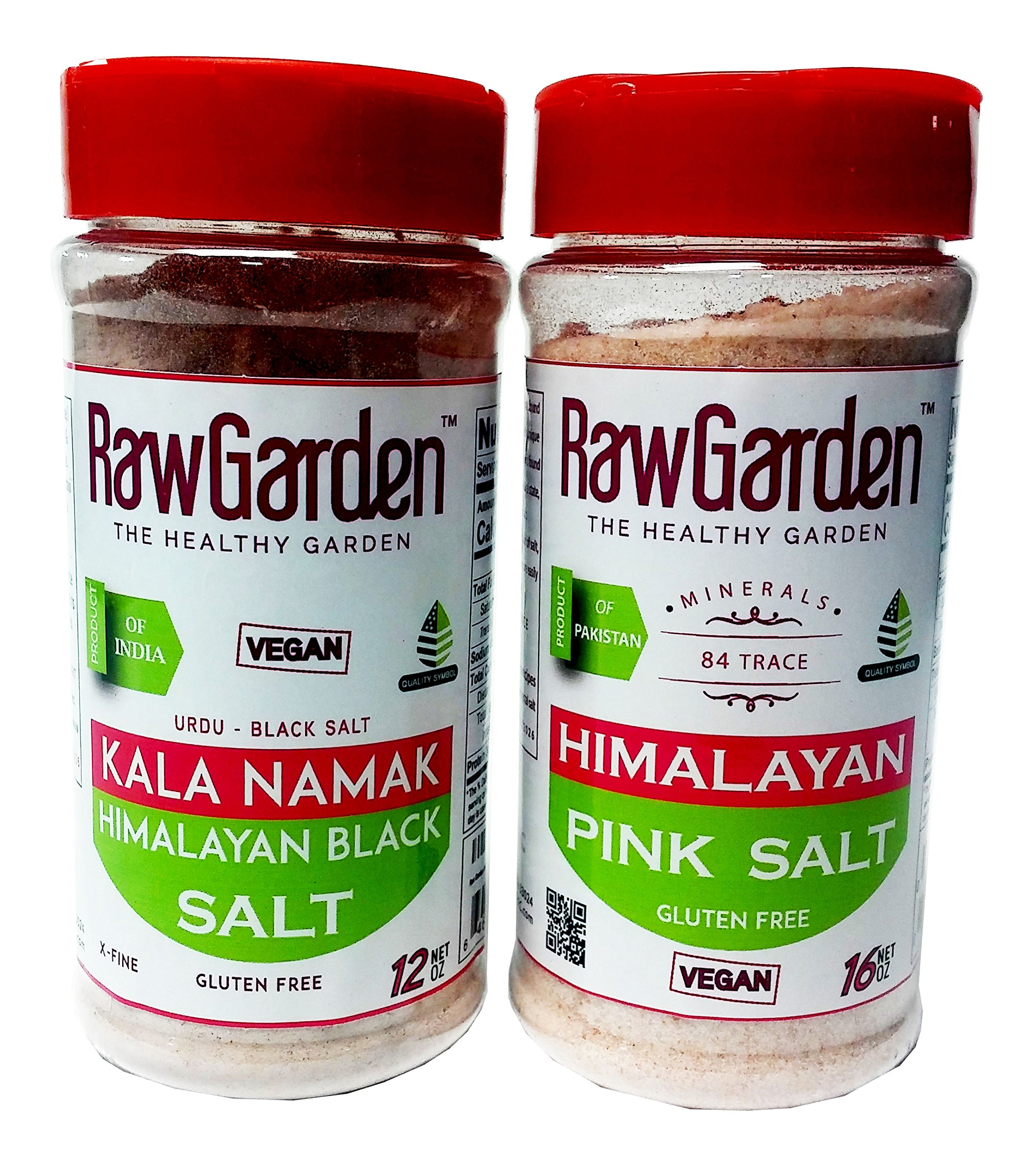 Raw Garden Kala Namak (Himalayan Black Salt) Fine 1 lb, 2 Pack Easy-To-Use Shaker Bottles