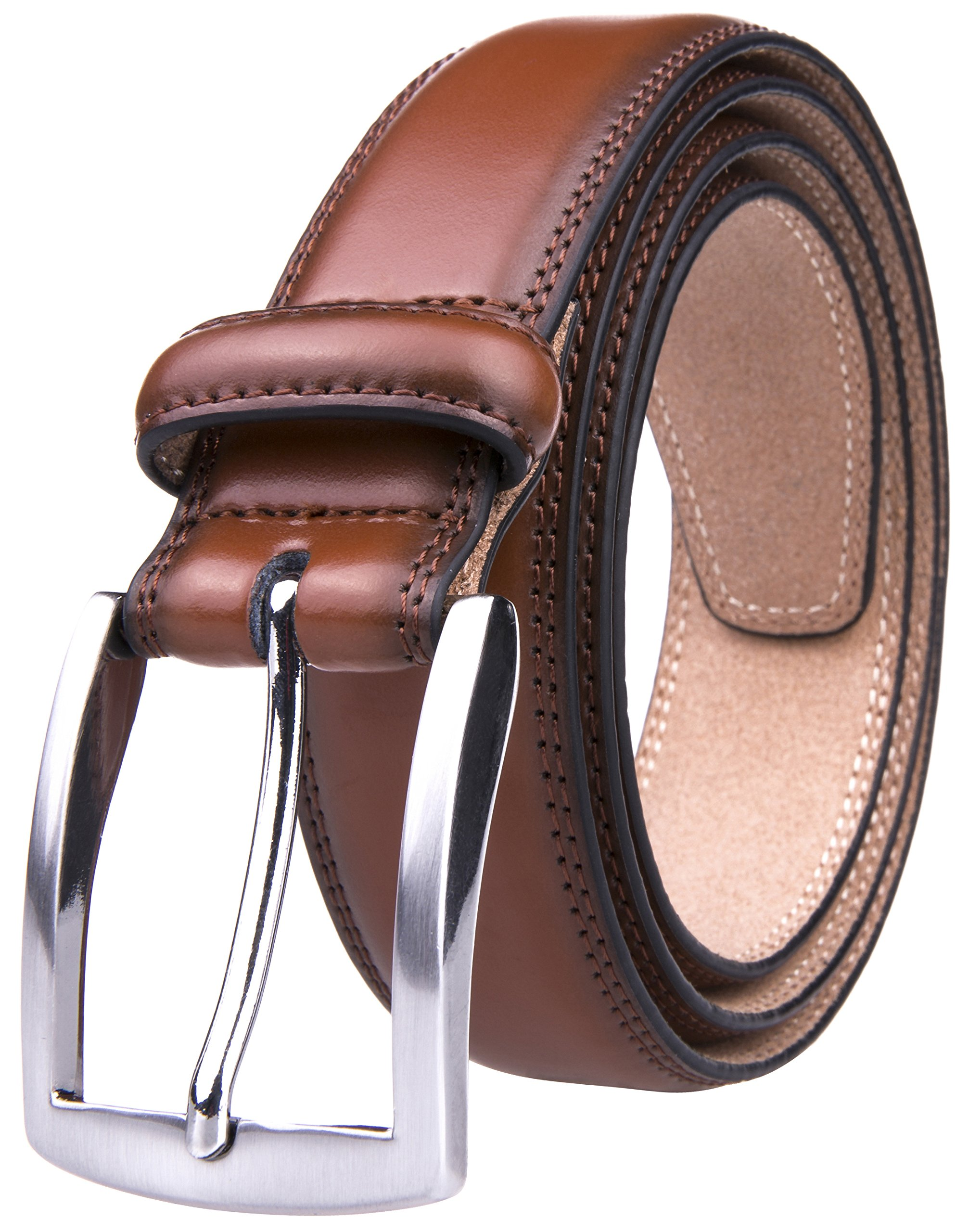 Fabio Valenti Men's 32MM Casual Belt with Pin Buckle (32, Brown)