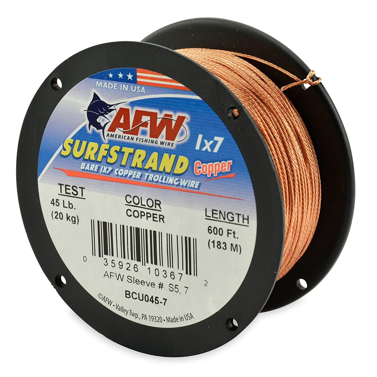 Amazon.com : American Fishing Wire Surfstrand Copper 1x7 Bare ...