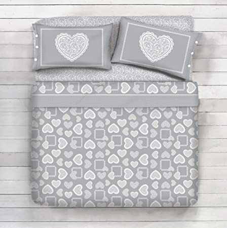 Lenzuola Matrimoniali Cuori.Completo Lenzuola 100 Cotone Disegno Jasmine Fiori Cuori