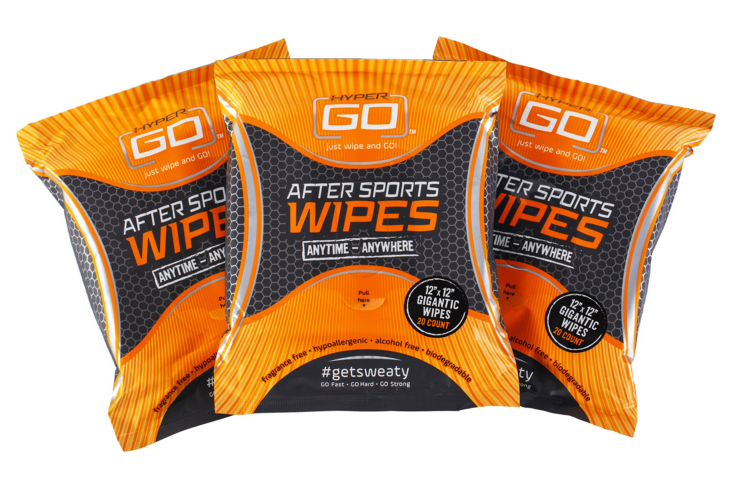 HyperGo After Sports Wipes, Full Body Wipes, Unscented, Hypoallergenic, All Natural Ingredients, Biodegradable (20 Wipes in Resealable Package) (3 Pack)