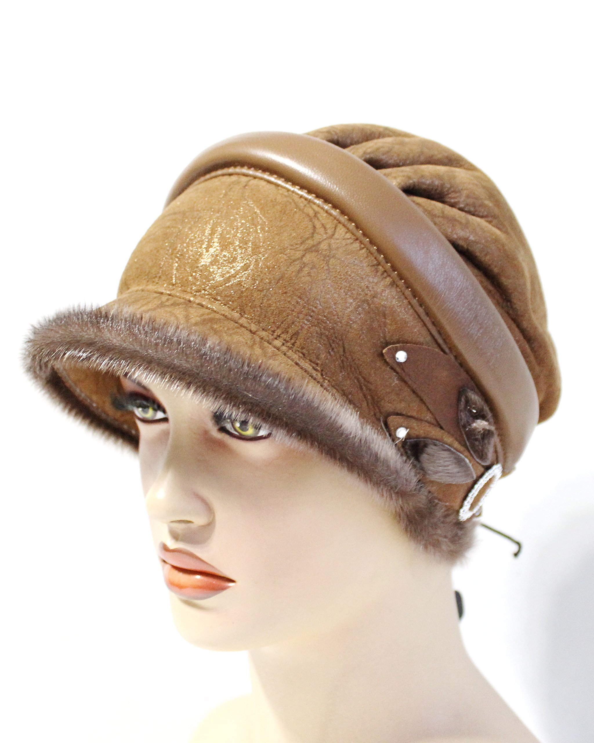 FurHatsfromUkraine Woman's hat Made of Sheepskin with Visor Elena is Light Brown.