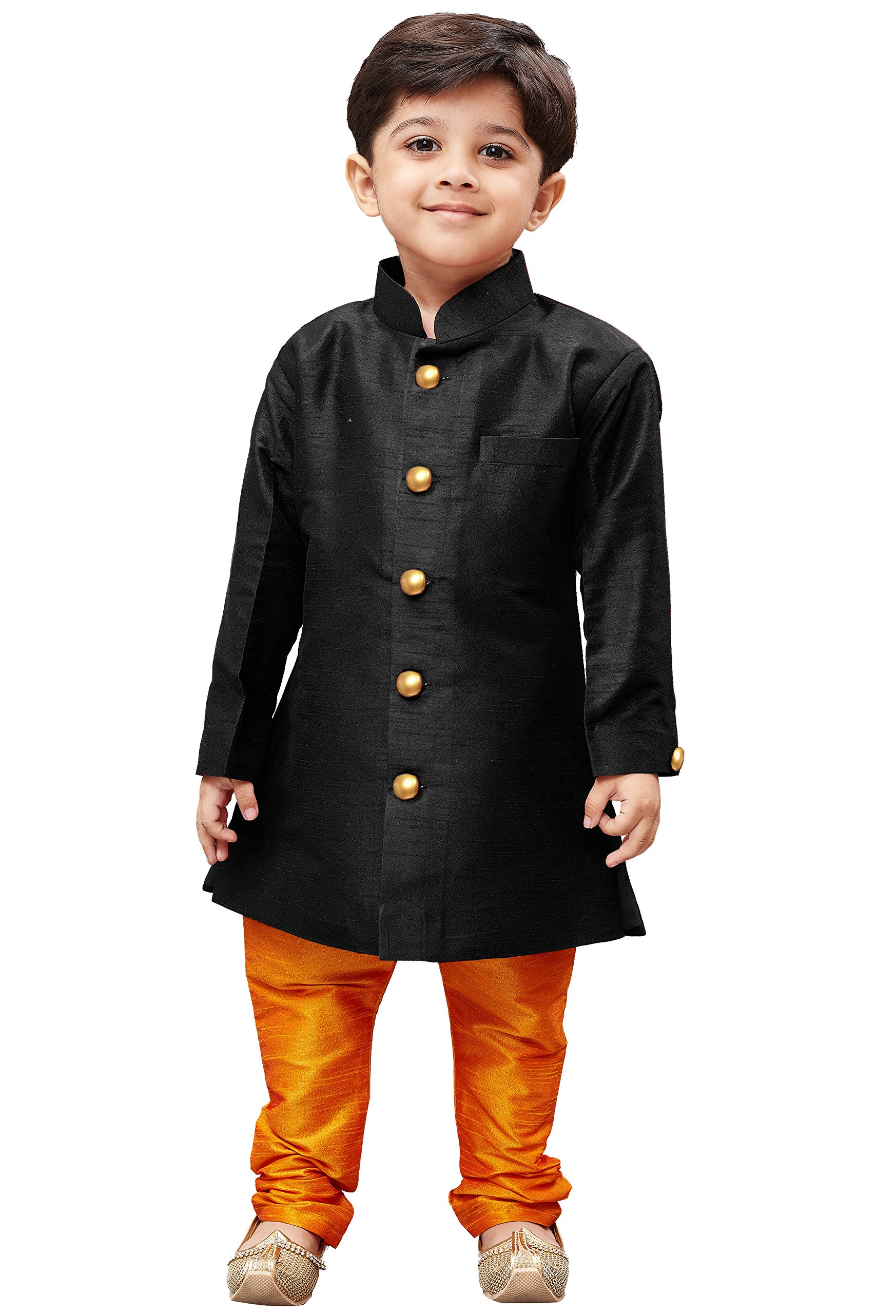 JBN Creation Boys' Black Silk Blend Sherwani Style Kurta Set(VASBKBL006nPOR_34)