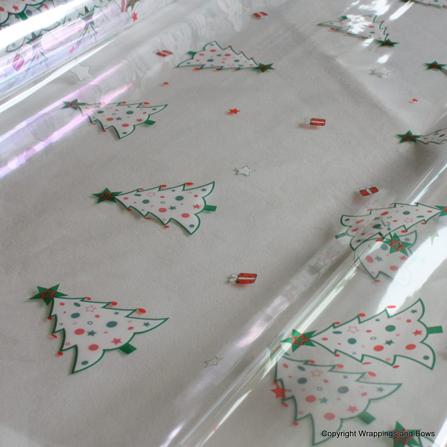 Christmas Trees Christmas Cellophane Gift Hamper Wrap 2 metres (folded) Wrappings and Bows