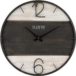 "La Crosse Technology 404-4040 16"" Ironwood Quartz Wall Clock, Brown"