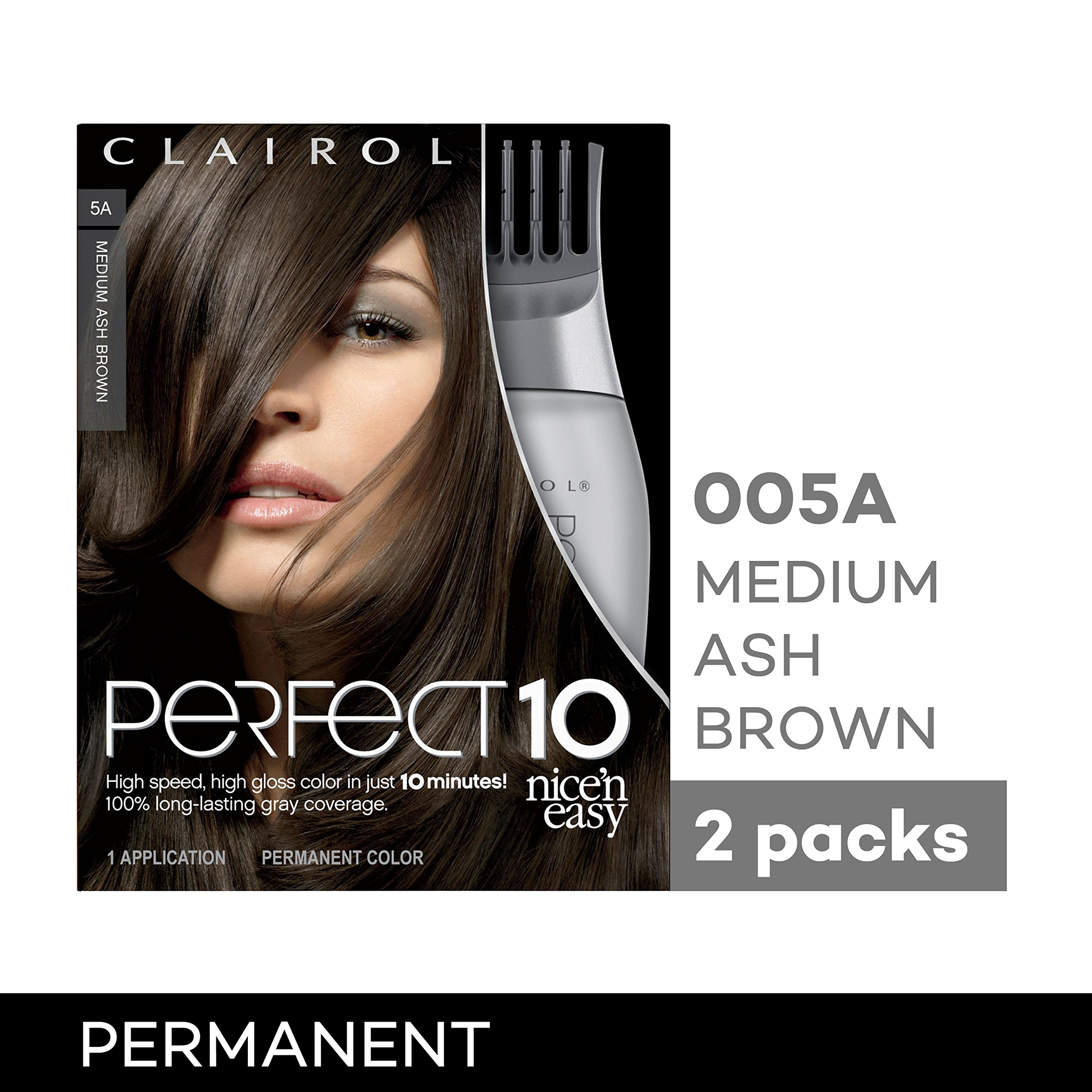 Clairol Perfect 10 By Nice 'N Easy Hair Color Kit (Pack of 2), 005A Medium Ash Brown, Includes Comb Applicator, Lasts Up To 60 Days by Clairol (Image #10)