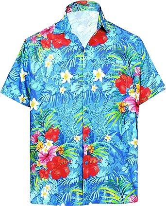LA LEELA Camisa Casual Botón Abajo Manga Corta Playera Hombre Bolsillo HD 235 - Azul - Small   pecho: 96/101 cm: Amazon.es: Ropa y accesorios