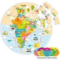 Webby Amazing India Map Jigsaw Floor Puzzle 60 Pcs with 4 Double Sided Flashcards