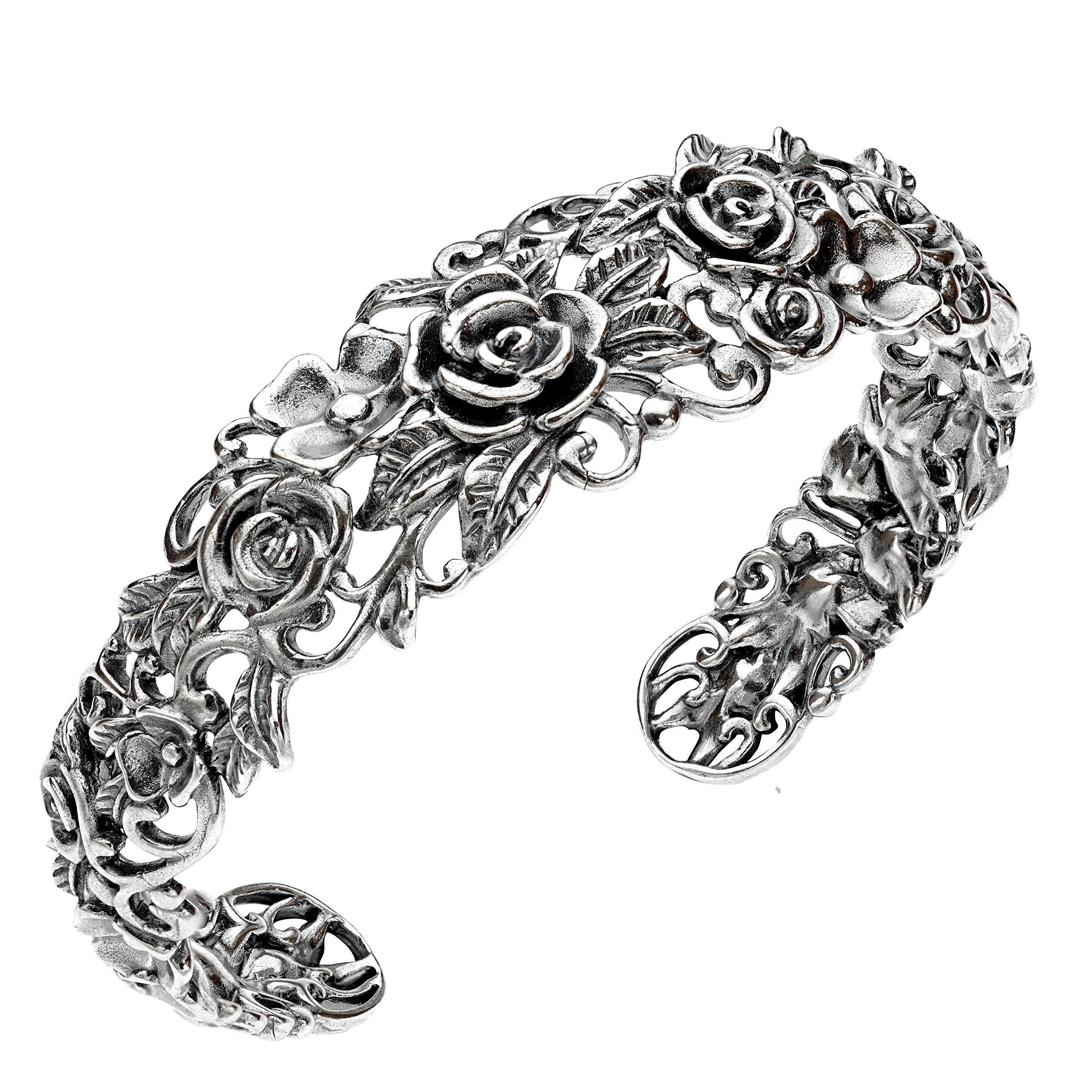 Paz Creations ♥925 Sterling Silver Rose Garden Cuff, Made in Israel (7.25)