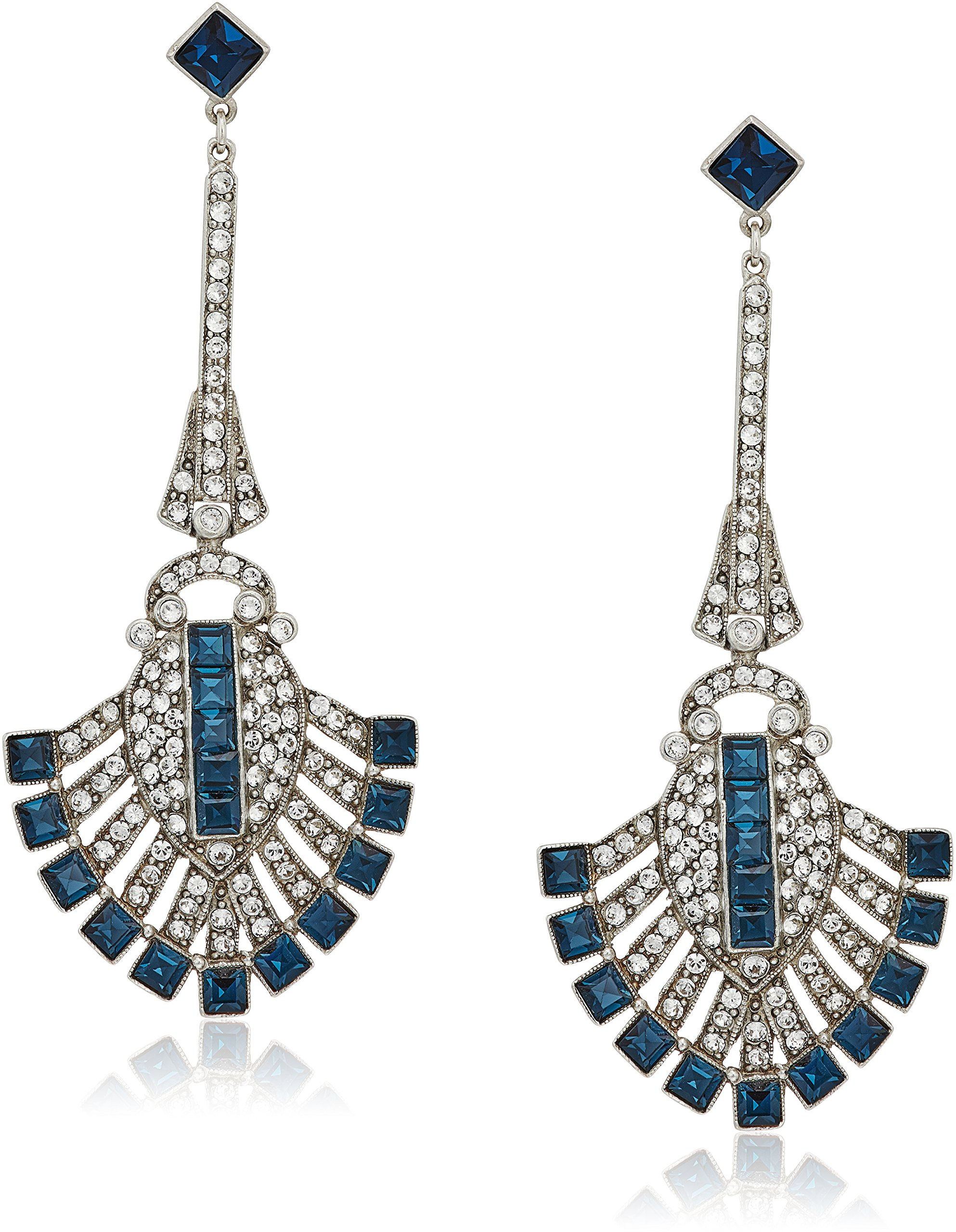 Ben-Amun Jewelry ''Deco'' Swarovski Crystal Sapphire Deco Fan For Bridal Wedding Anniversary Drop Earrings