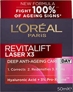 L'Oréal Paris Revitalift Laser X3 Re-Densifying Anti-Ageing Day Moisturiser, with Pro-Xylane, Dermatologically Tested, 50ml,