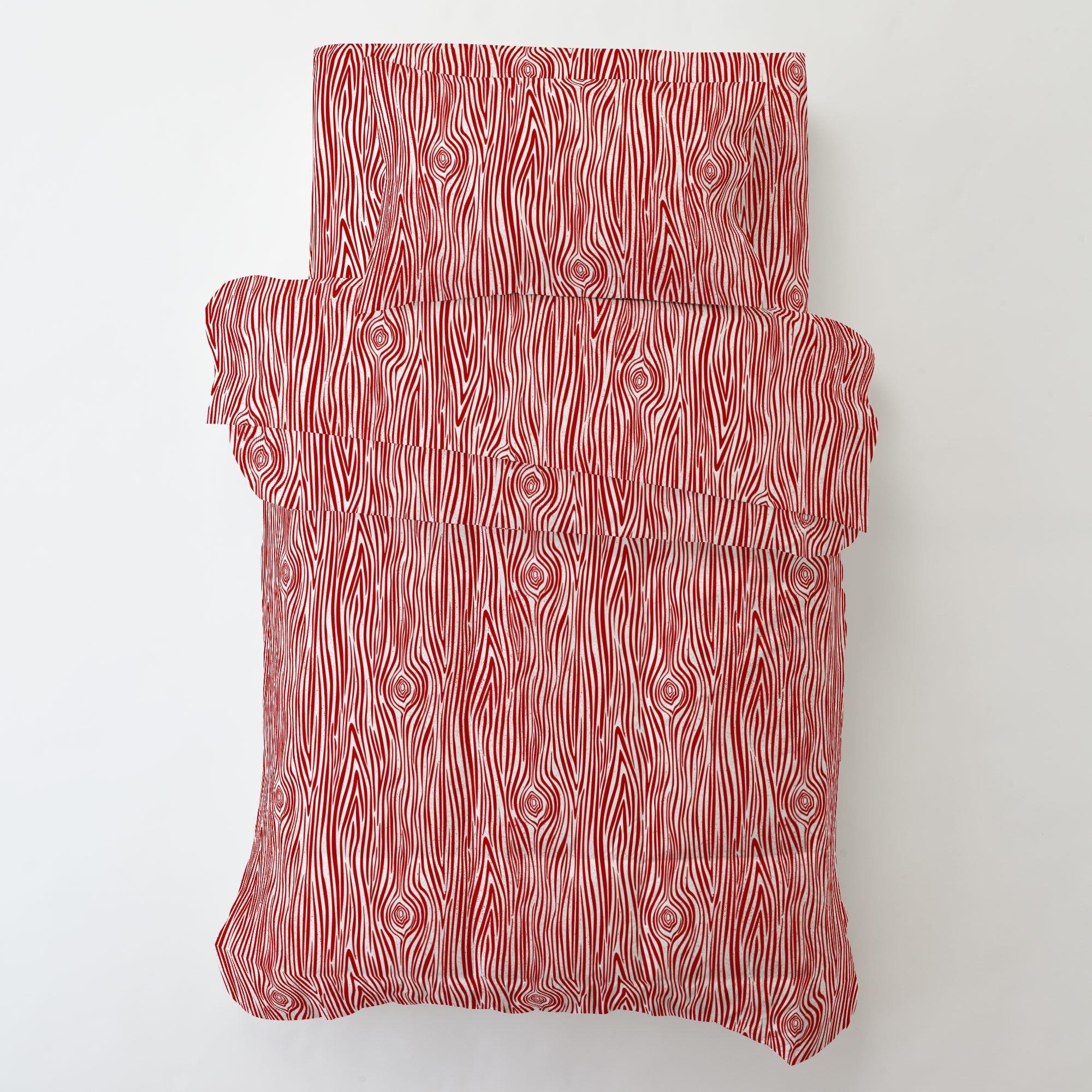 Carousel Designs Red Woodgrain Toddler Bed Sheet Top Flat by Carousel Designs (Image #3)