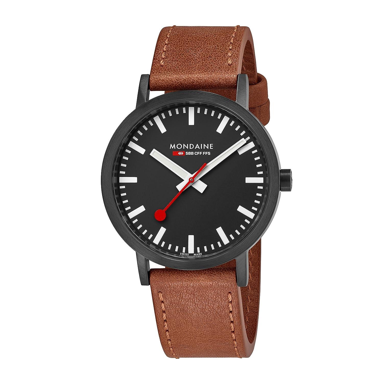 Mondaine ' SBB ' Swiss QuartzステンレススチールandレザーCasual Watch , Color : Brown ( Model : a660.30360.64sbg ) B075XV54Q6