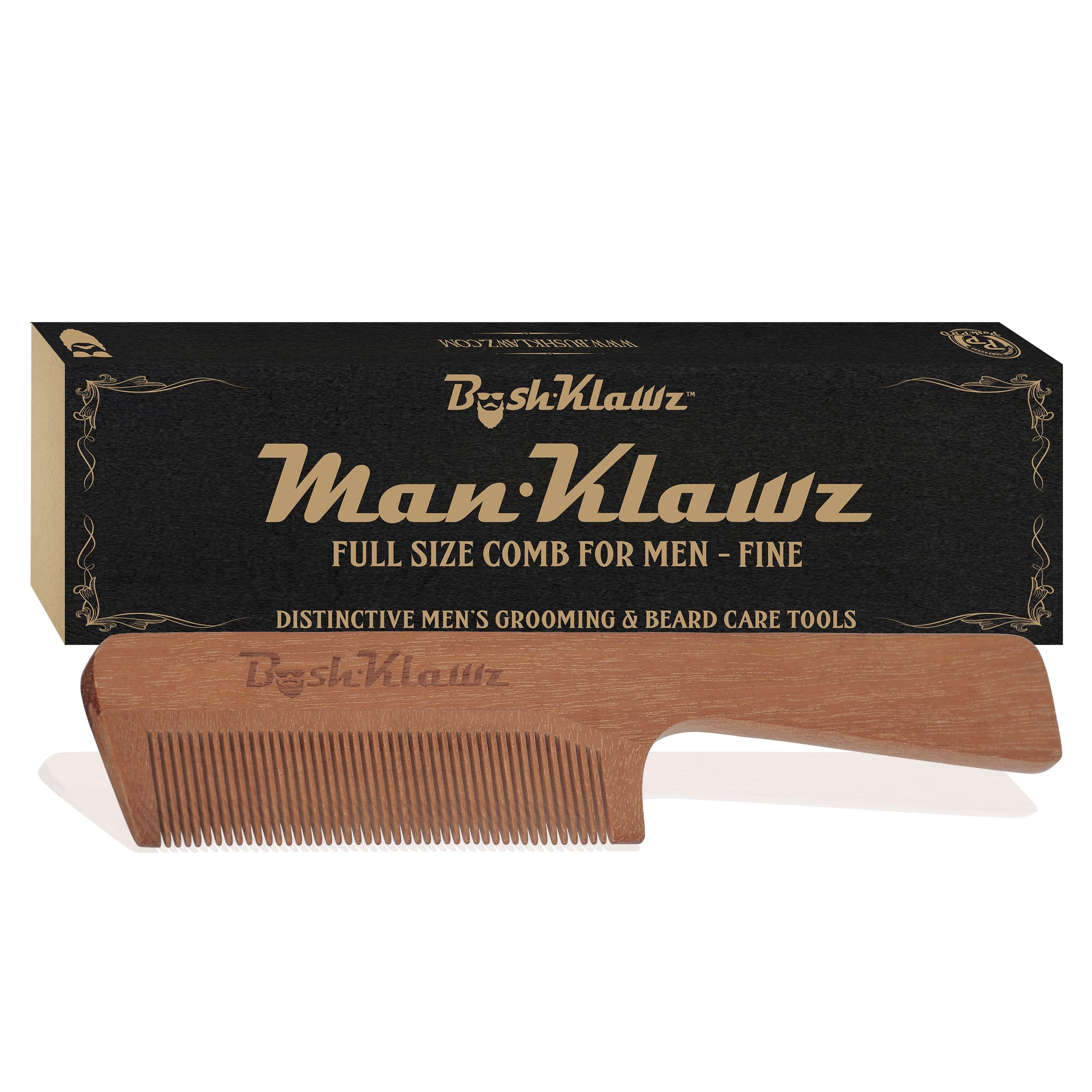 ManKlawz Men's Comb Fine Teeth Wooden Hair Comb Detailer for Fine Hair Parts and Styling - Best Handle Hair Comb for Men with Big Manly Hands by BushKlawz (Image #3)