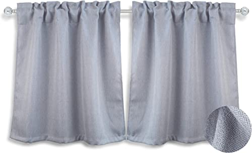 Aiking 24 inch Tiers Window Treatment – 2-Panels Brushed Rod Pocket Kitchen Curtain Tiers for Small Window Kitchen Event Designs, 28 by 24 inch Each, Silver