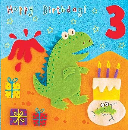 Twizler 3rd Di Compleanno Per Bambini Con Dinosauro E Vulcano Tre