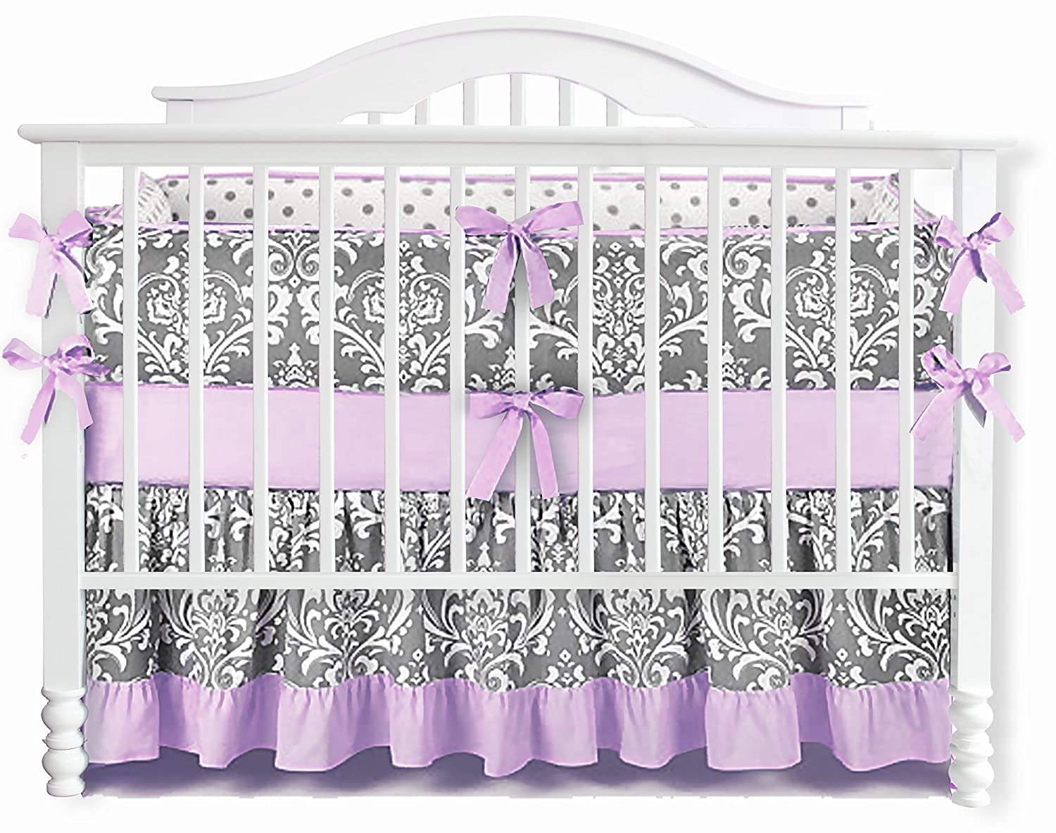 Sahaler Baby Crib Bedding Set for Girls Boys | 7 Pieces Set of Floral Nursery Bedding | Baby Blanket & Fitted Crib Sheets & Skirt & Bumper - White Floral on Grey/Ruffle Purple 91o6TfcnrIL
