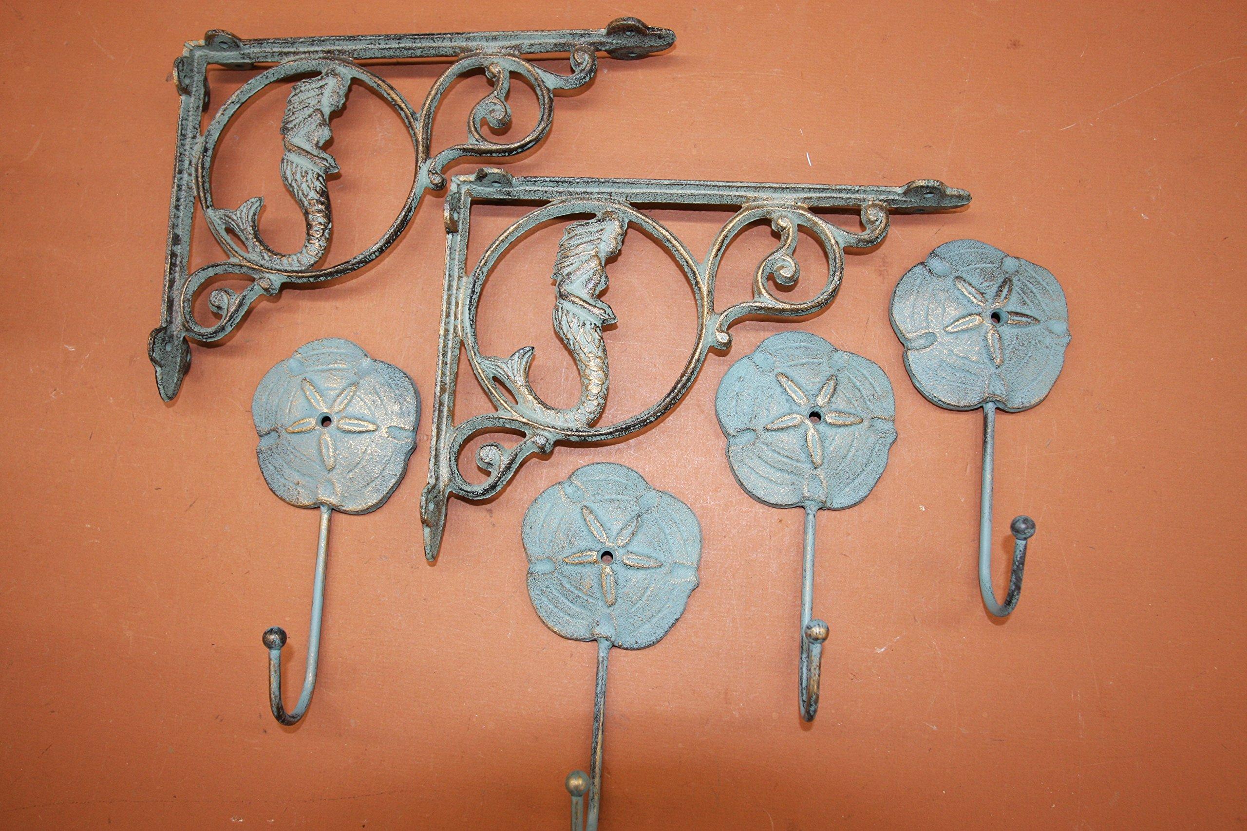 Antique-look Mermaid Corbels Sand Dollar Wall Hook Set, Cast Iron Bronze-look Bundle 6 Items