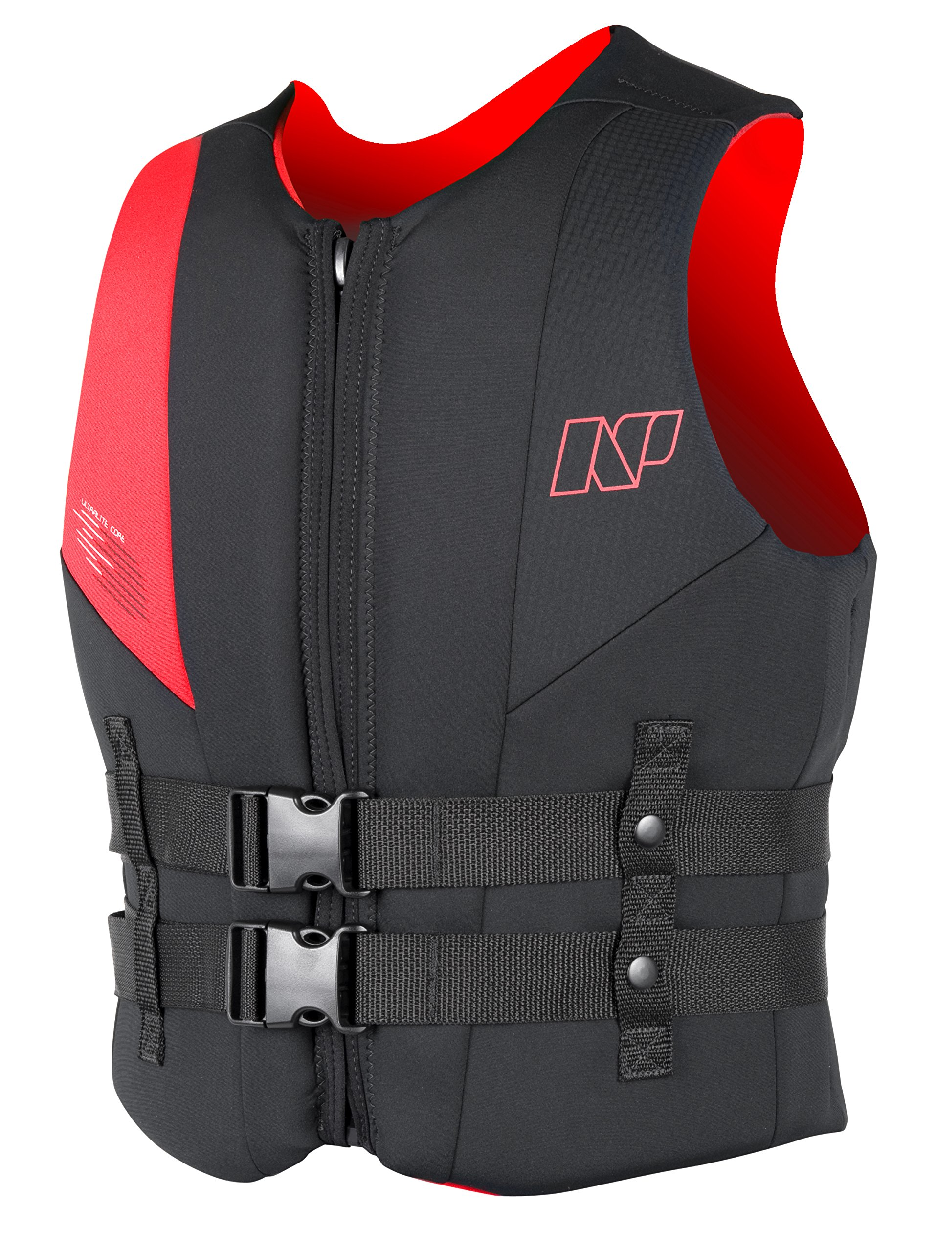 NP Surf USCG Neoprene Multi Sport Flotation Vest, Black/Red, Small