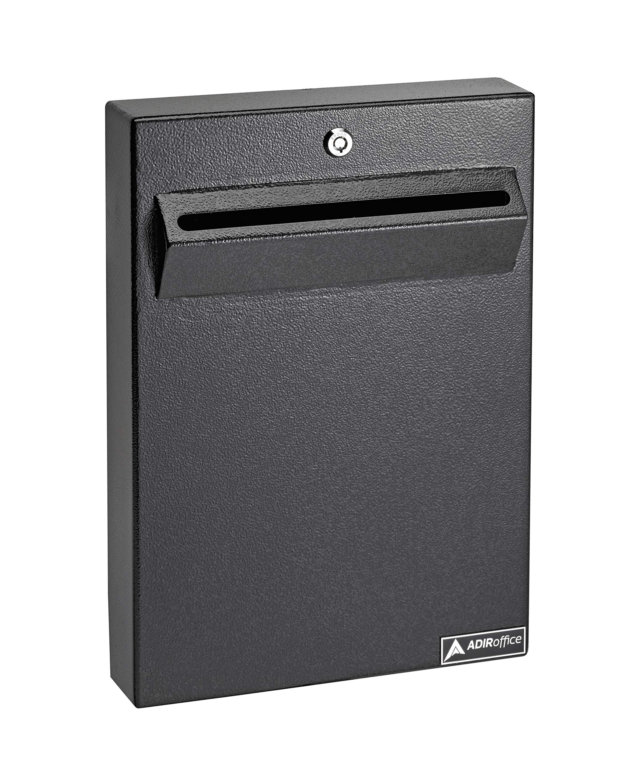 AdirOffice Wall Mount Drop Box - Heavy Duty Secured Storage with Lock - for Commercial Home Office or Business Use (Black)