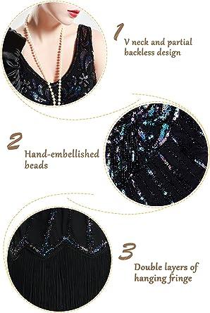 BABEYOND damska sukienka w stylu retro z lat 20-tych, z dwoma warstwami, z wycięciem w kształcie litery V, świetna na impreza tematyczna, kostium damski., kolor: czarny , rozmiar: XS: Odzież
