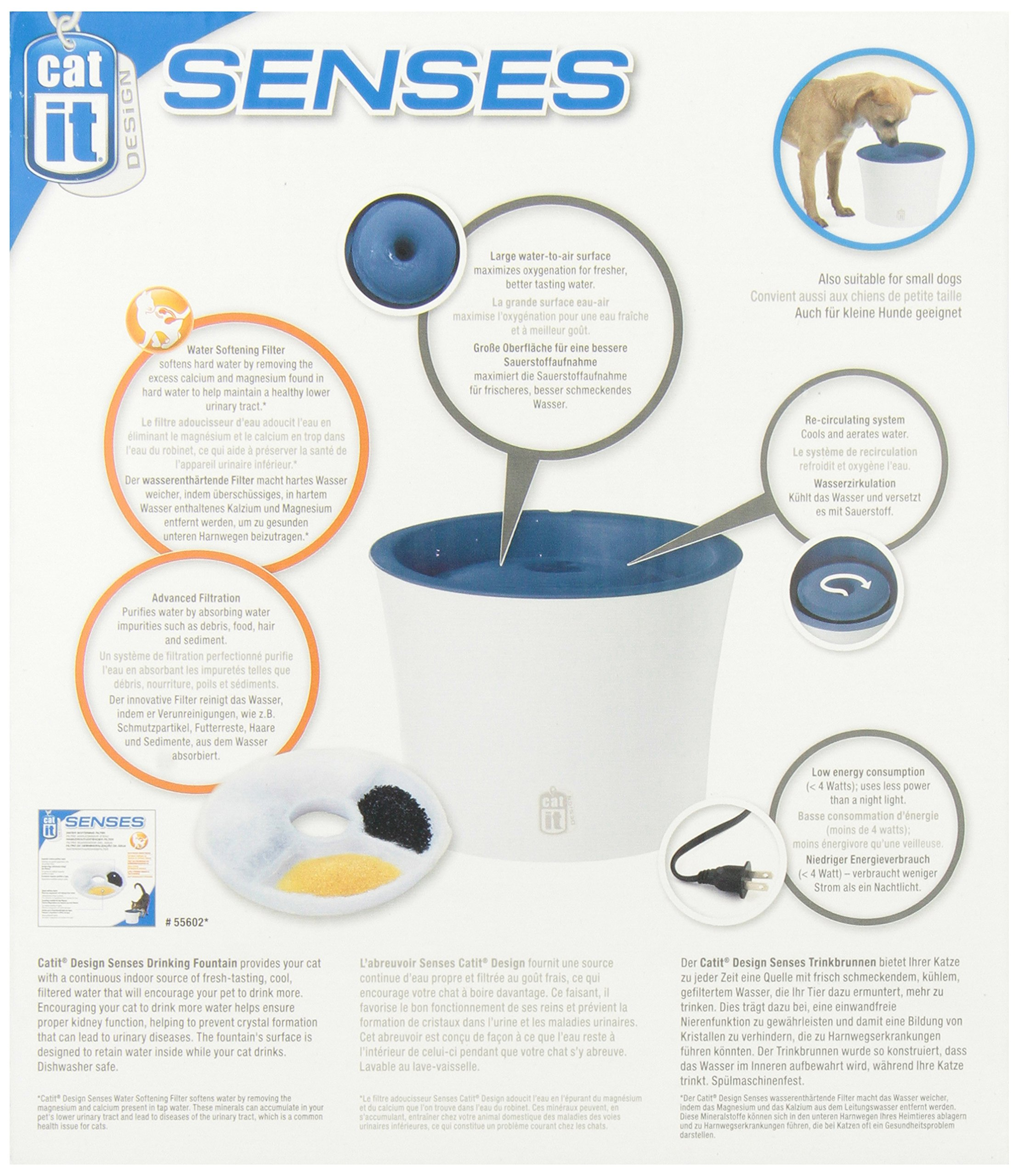 Catit Design Senses Fountain with Water Softening Cartridge, 3L