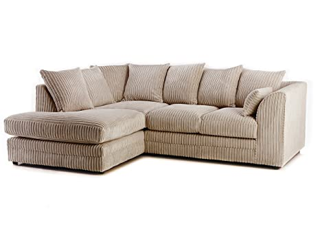 Cable de tela de color beige sofá de esquina izquierda brazo ...