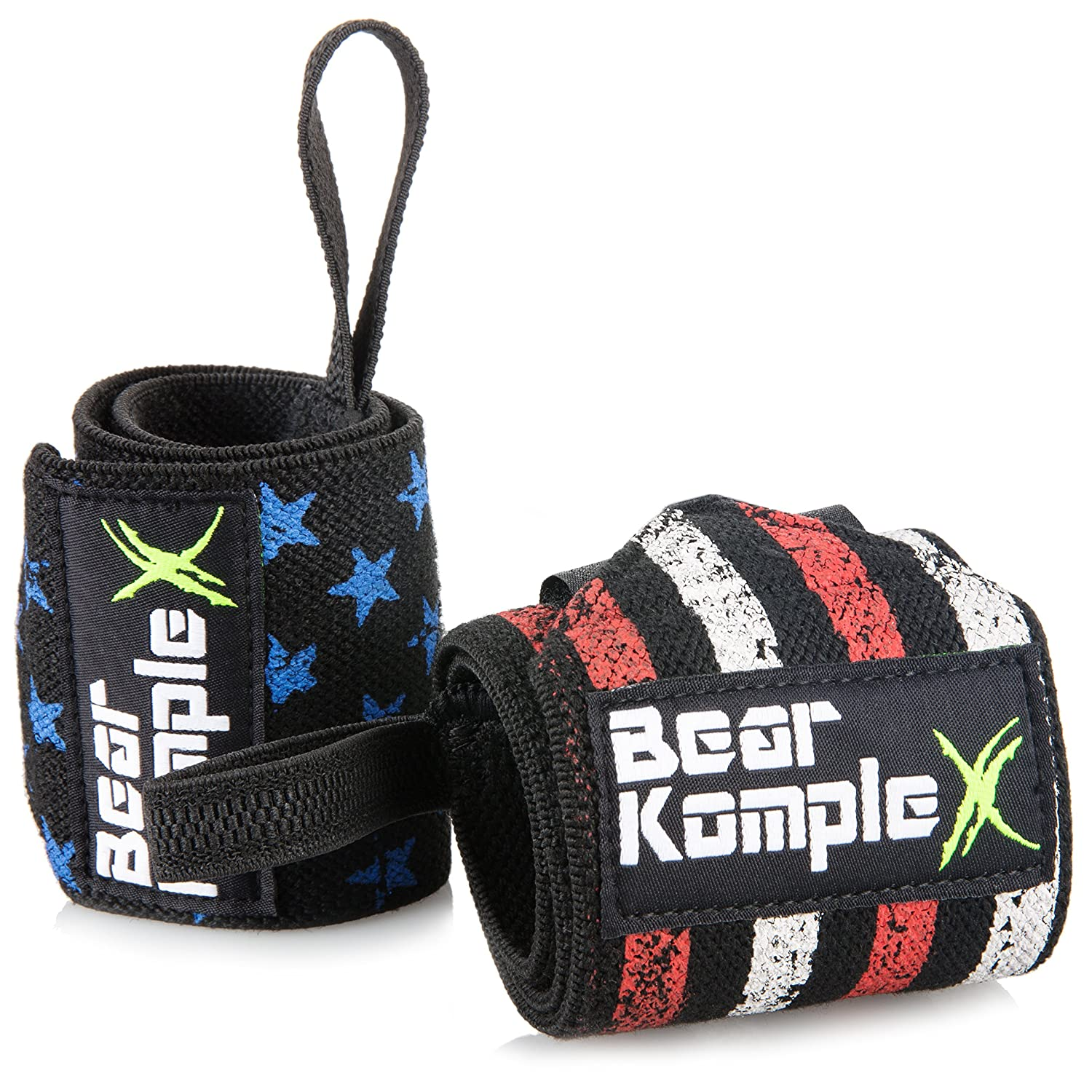 Workout Wraps for Crossfit 18 Inch Pair Power Lifting /& More Bear KompleX Wrist Support Band Wraps for Weightlifting: Stabilizer Grip for Right//Left Hand with Thumb Hooks