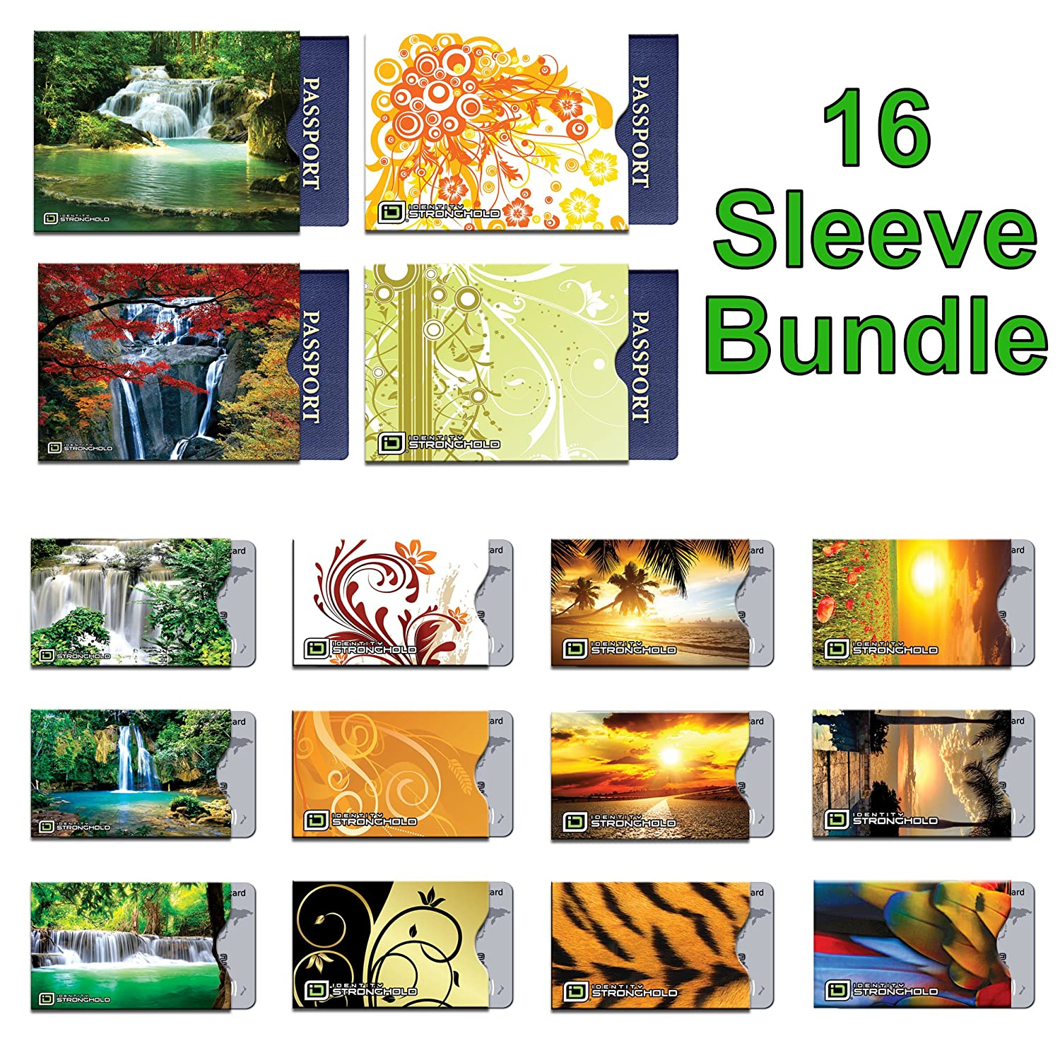 16 RFID Blocking Sleeves in Fun Realistic Designs! (12 Credit Card Holders & 4 Passport Protectors) Ultimate Premium Identity Theft Protection Sleeve Set for Men & Women. ID Stronghold
