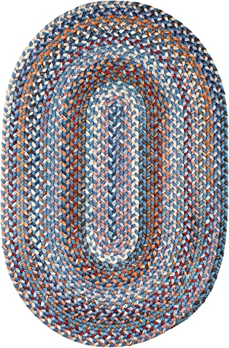 Super Area Rugs Tribeca Textured Braided Rug 100 Wool Rug Thick Soft Blue Casual Carpet, 2 X 3 Oval