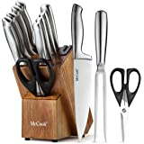 McCook MC35 Knife Sets,11 Pieces German Stainless Steel Hollow Handle Self Sharpening Kitchen Knife Set in Acacia Block