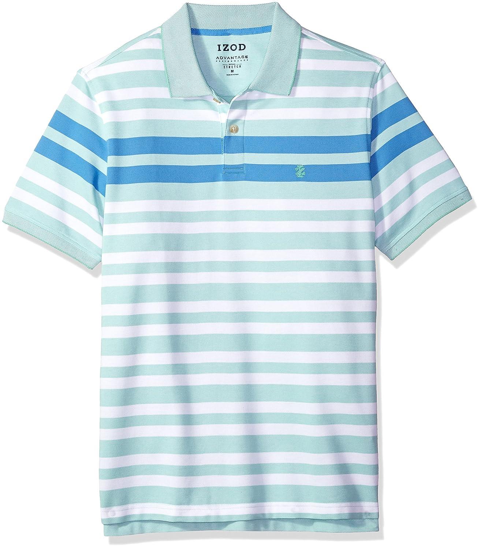 Izod Mens Advantage Performance Stripe Polo Regular Slim Fit