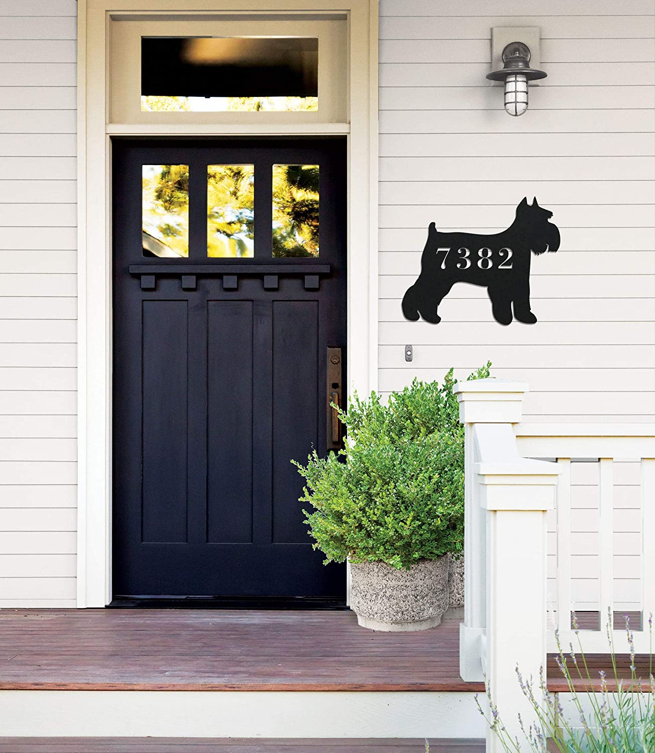 Tamengi Metal Address Sign for Wall, Schnauzer Dog Home Decor, Dog Number Sign, Outdoor Wall Metal Sign Home Decor, Address Sign SCH794