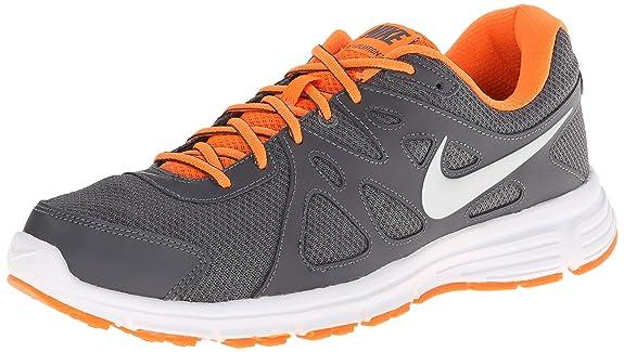 Amazon.com | NIKE Men's Revolution 2 Running Shoe Grey/Orange/White/Silver  Size 8 M US | Road Running