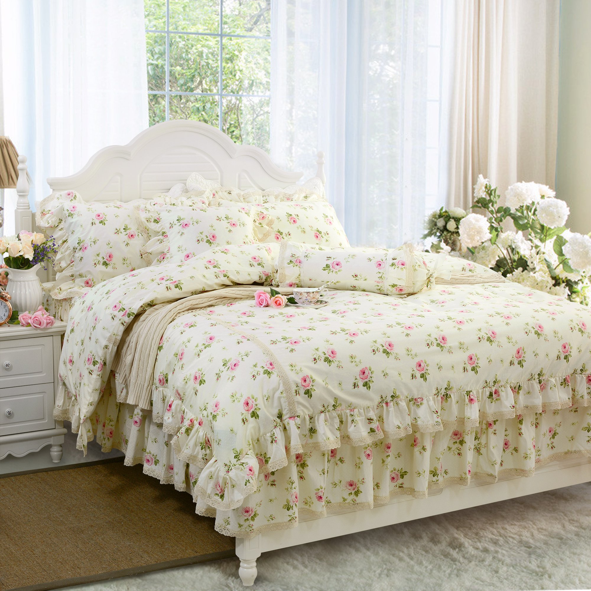FADFAY Rosette Floral Print Duvet Cover Set Princess Lace Ruffle Bedding Set For Girls 4 Pieces California King Size