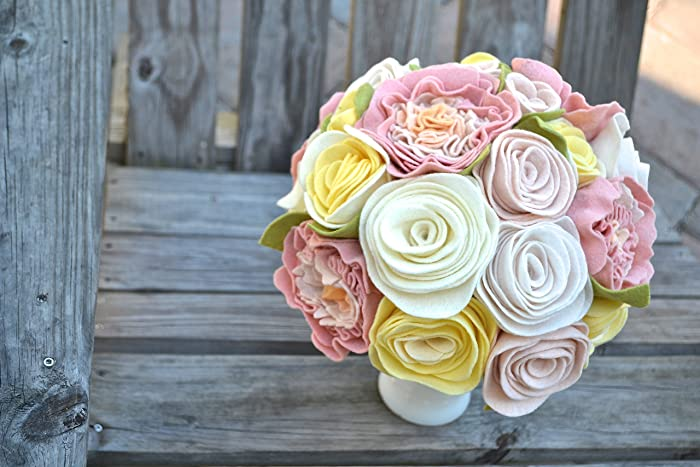 Amazon.com: Felt Flower Bridal Wedding Bouquet - Roses and Peonies ...