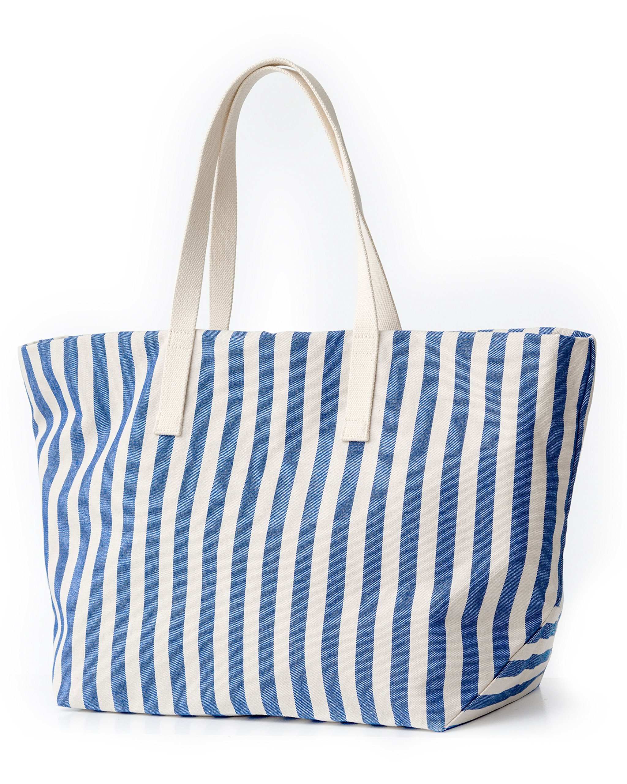 BAGGU Women's Weekend Bag, Roomy and Durable Canvas Carry-on Travel Tote, Summer Stripe