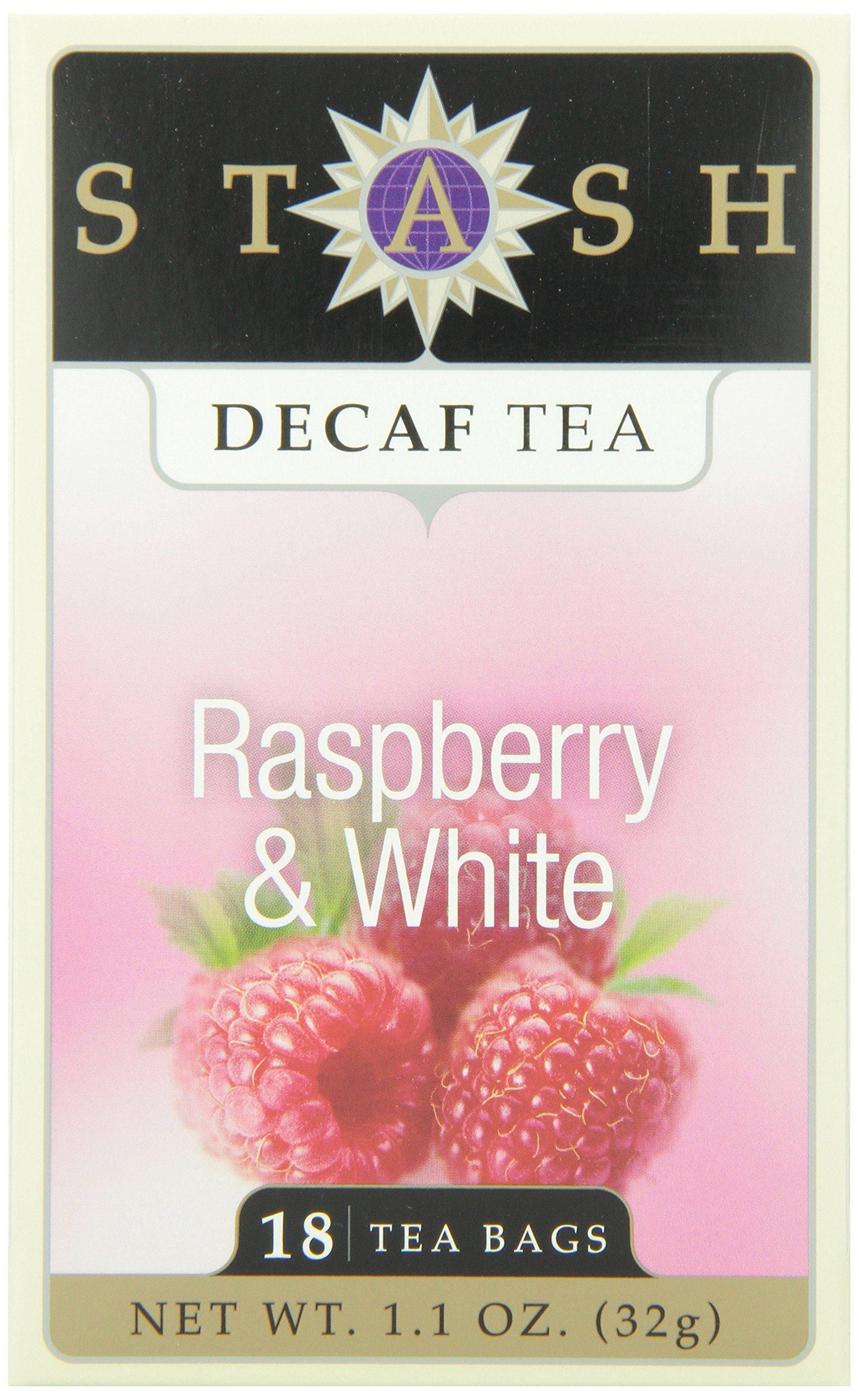 Stash Tea Decaf Raspberry & White Tea, 18 Count Tea Bags in Foil (Pack of 6)