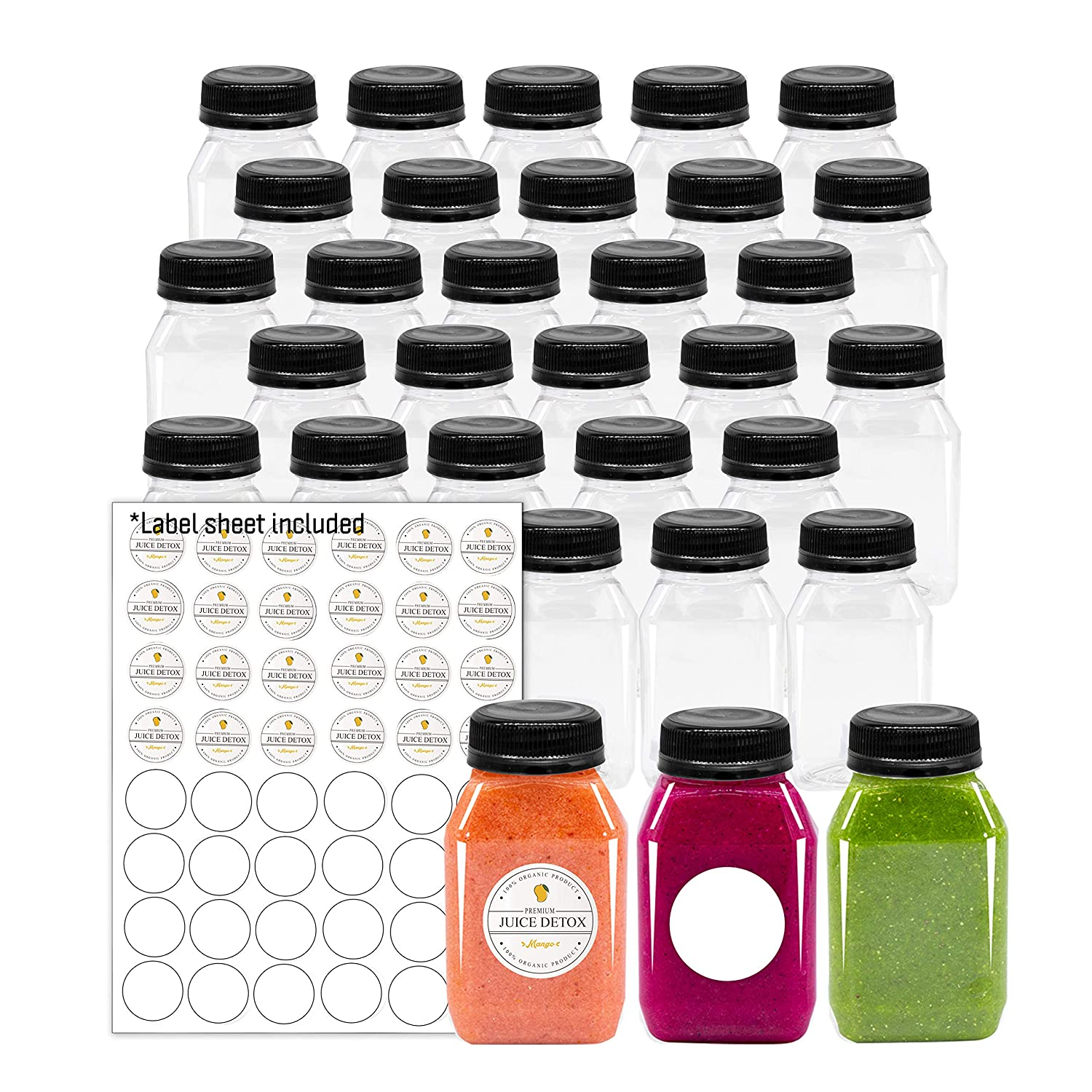 Empty PET Plastic Juice Bottles - Pack of 35 Reusable Clear Disposable Milk Bulk Containers with Labels and Tamper Evident Caps (4 OZ, Black)