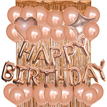 Birthday Decorations Party Supplies Kit Rose Gold Happy Letter Foil Balloons Latex BalloonsMetallic Tinsel Fringe Curtains Amazoncouk