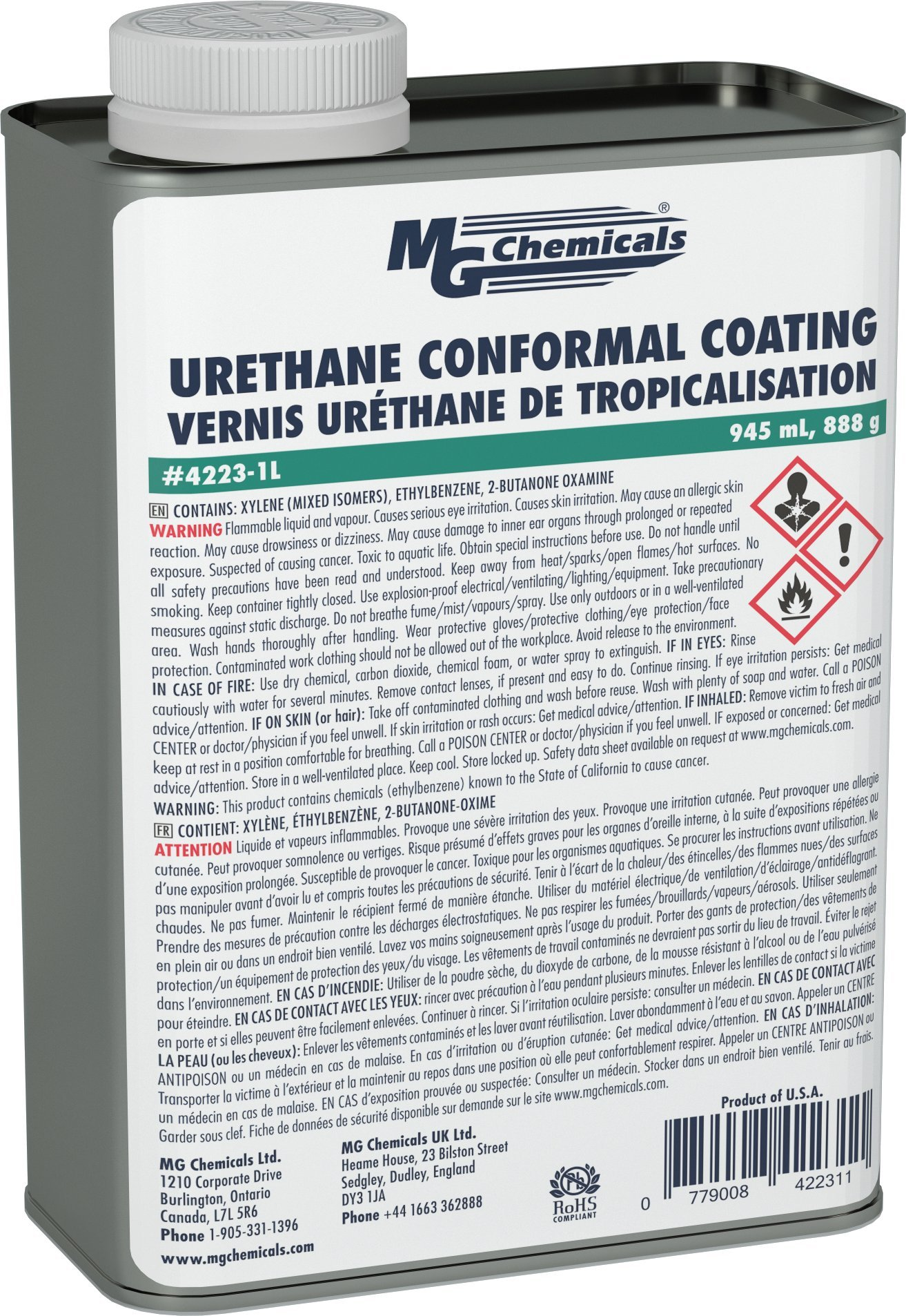 MG Chemicals Urethane Conformal Coating, 1 Quart Can by MG Chemicals