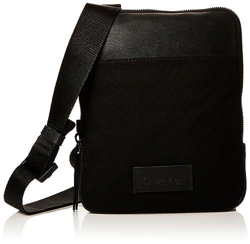 889accbae04 Calvin Klein Modern Bound Flat Crossover, Men's Shoulder Bag, Black,  3x26x21 cm (