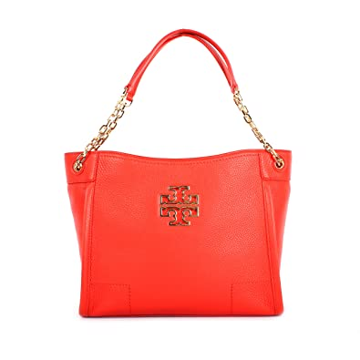 8a7411ba6a7 Amazon.com  Tory Burch Britten Small Slouchy Tote Bag (Poppy Red)  Shoes