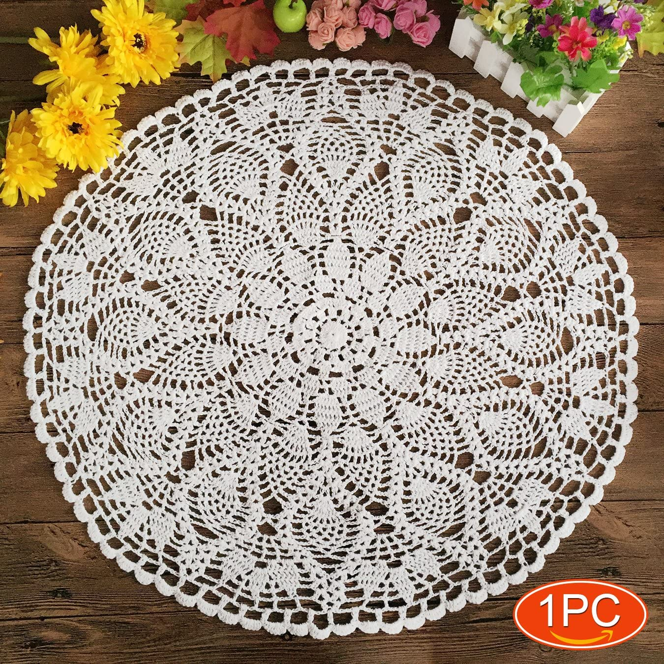 Elesa Miracle 22 Inch 1pc Handmade Crochet Cotton Lace Table Placemats Sofa Doilies Value Pack, Waterlily, Beige/White (1pc-22 Inch White)