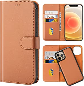 LONLI All-in-One Series | Detachable Leather Wallet Case for iPhone 12 Mini - (5.4 inch, Caramel)