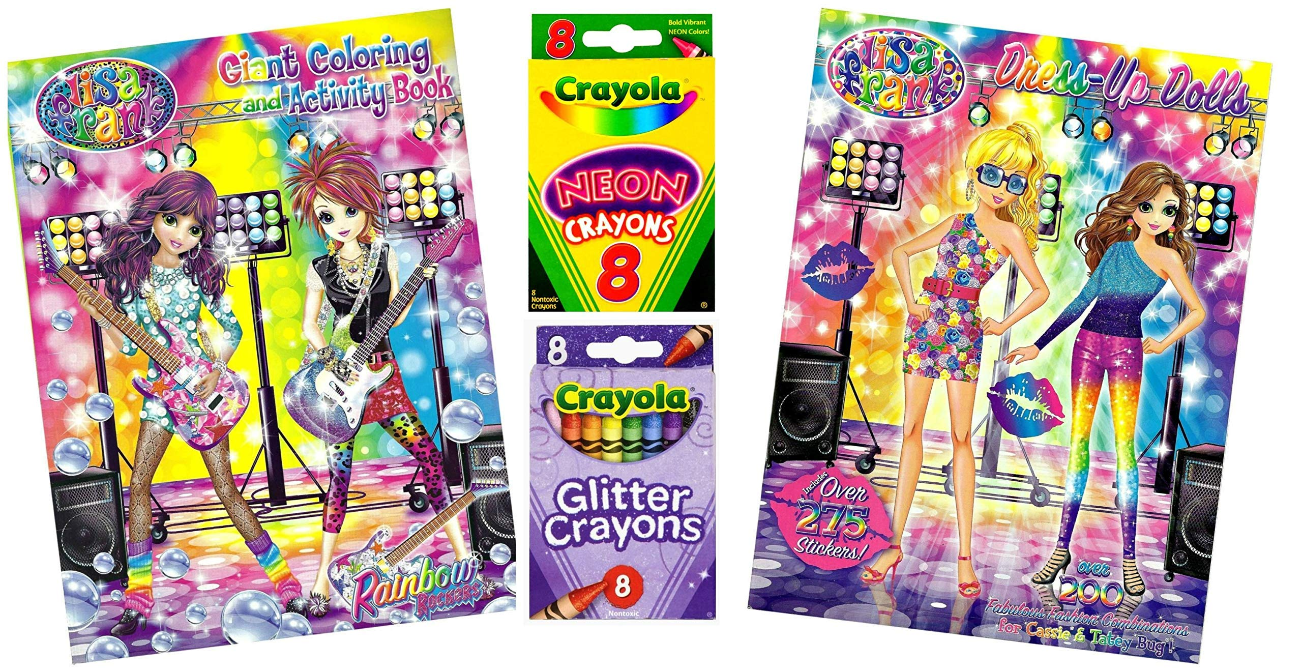 Mixed Lisa Frank Cassie & Tatey Bug Rainbow Rockers Coloring Dress-Up Dolls and Activity Kit - 4 Items