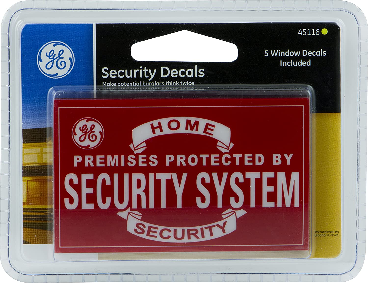 GE Security Decals, (5 Pack) Home Protection Warning, Premises Protected by Security System, Peel and Stick Weather Resistant, Resists Fading, DIY Home Protection, Perfect for Home & Apartment 45116