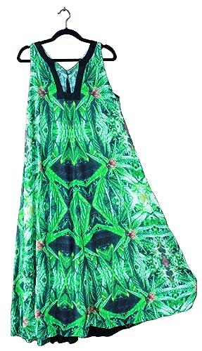 18f79aebc98 Amazon.com  Hawaiian Floral Maxi Dress. Women Plus Size Wedding Resort Blue  Widow Fractal Art Design-M L  Handmade