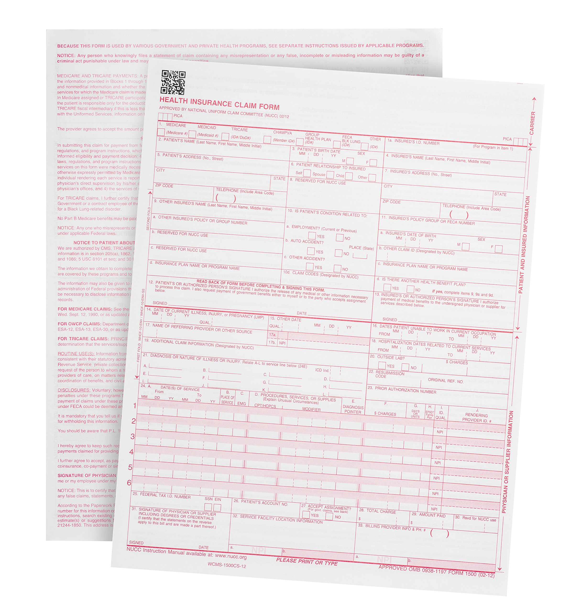 500 CMS-1500 Claim Forms - Current HCFA 02/2012 Version ''New Version''- Forms will line up with billing software and Laser Compatible- 500 Sheets - 8.5'' x 11