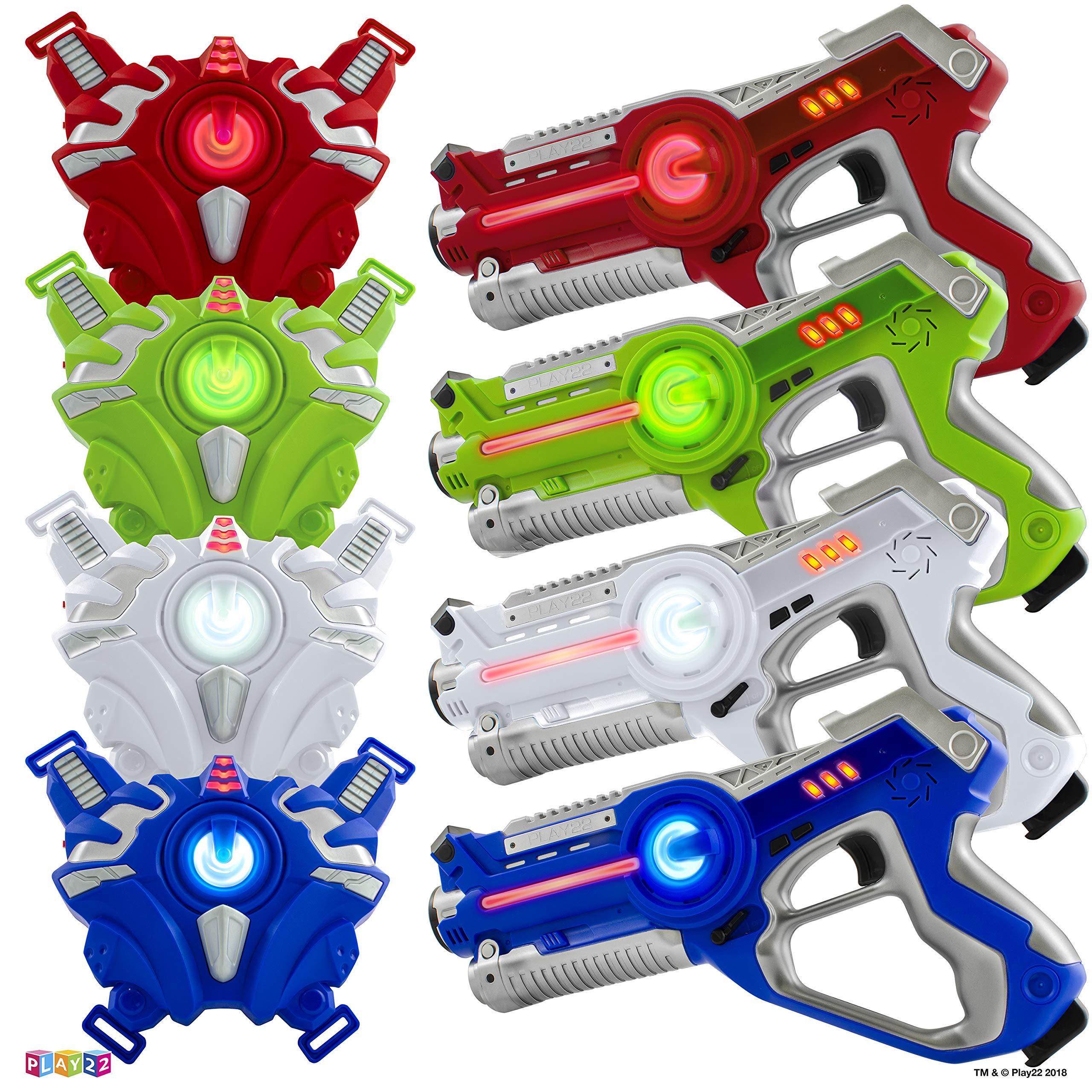 Play22 Laser Tag Sets Gun Vest - Infrared Laser Tag Set 4 Guns 4 Vests - Laser Tag Gun Toys for Indoor Outdoor - Laser Tag Game Set Best Gift Boys Girls – Original